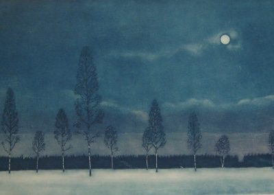 Måne og bjerker. str 72x31 cm