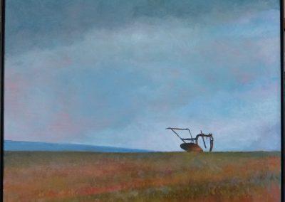 Under en høy himmel. 100x120 cm.Acryl og olje.